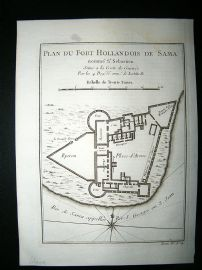 Africa Ghana: C1750 Antique Map, Fort de Sama. Bellin Prevost